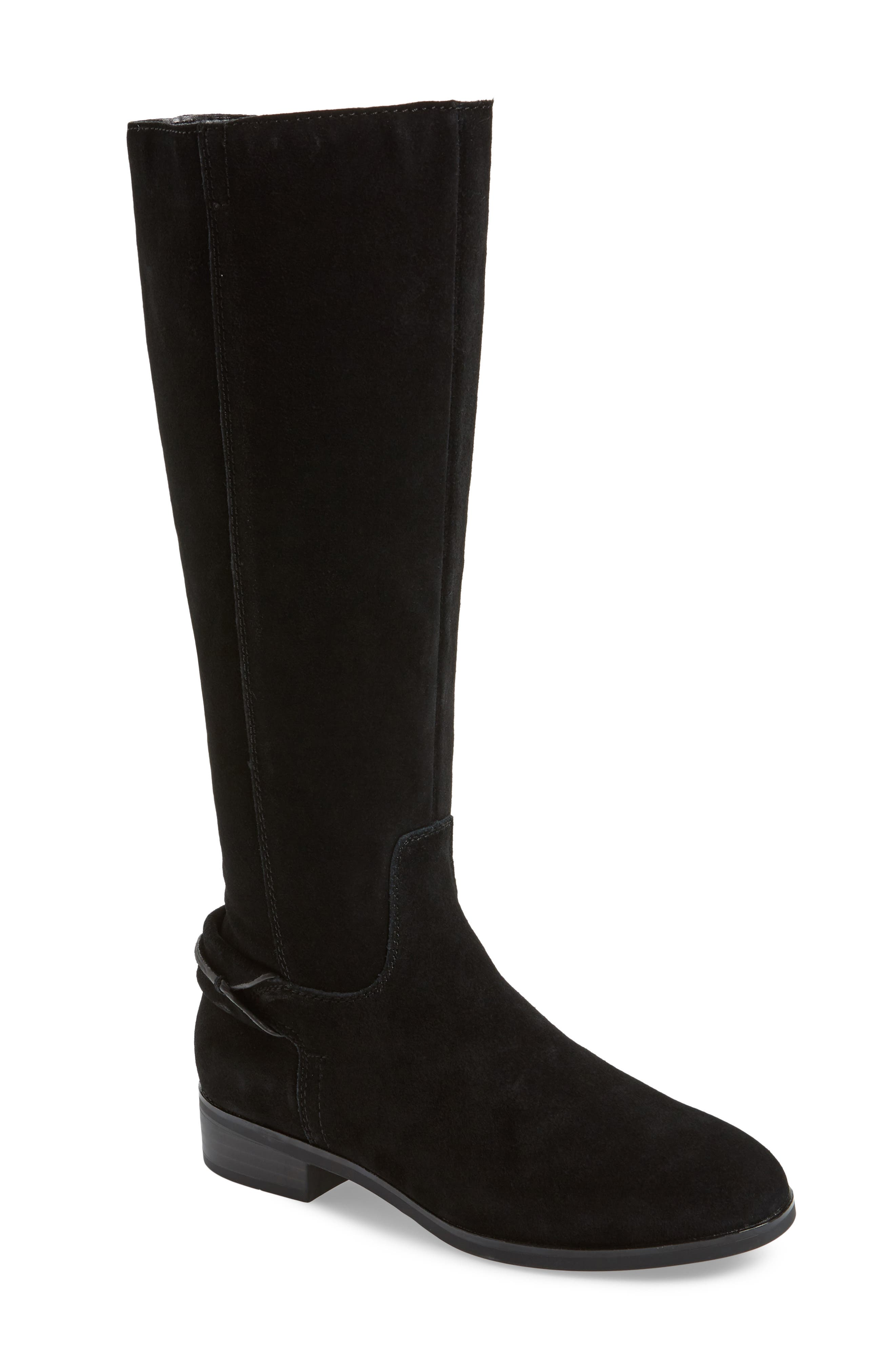 Cheverly Knee High Boot, Main, color, BLACK SUEDE