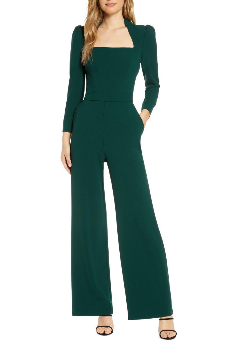 ELIZA J Long Sleeve Jumpsuit, Main, color, HUNTER