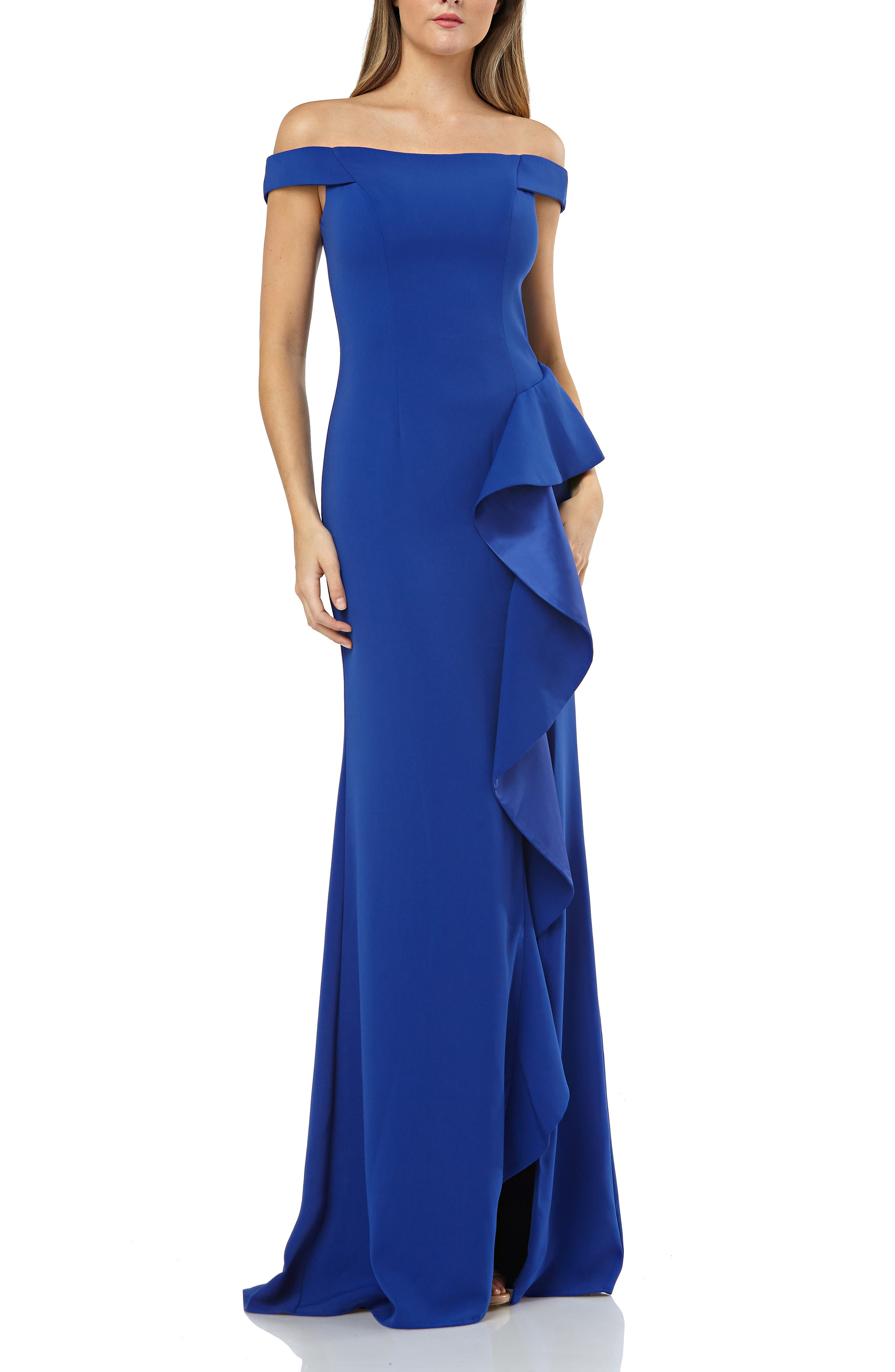 Carmen Marc Valvo Infusion Ruffle Off The Shoulder Gown, Blue
