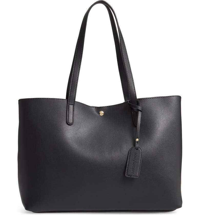 SOLE SOCIETY Zeda Faux Leather Tote, Main, color, BLACK
