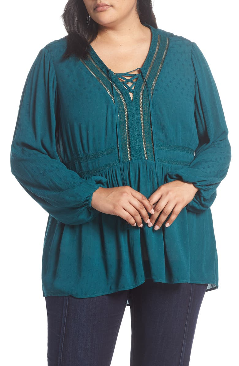 SEVEN7 Lace-Up Crinkled Jacquard Top(Plus Size), Main, color, DEEP TEAL