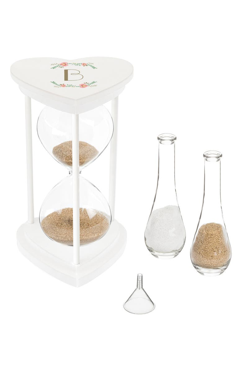 CATHY'S CONCEPTS Monogram Unity Sand Ceremony Hourglass Set, Main, color, WHITE - B