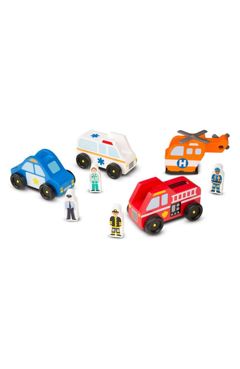 MELISSA & DOUG Emergency Vehicles Set, Main, color, RED