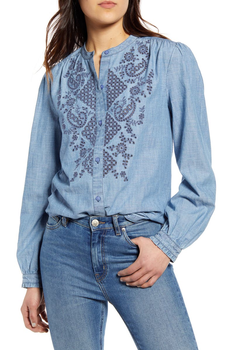 LUCKY BRAND Eyelet Cotton Chambray Poet Shirt, Main, color, LIGHT WASH