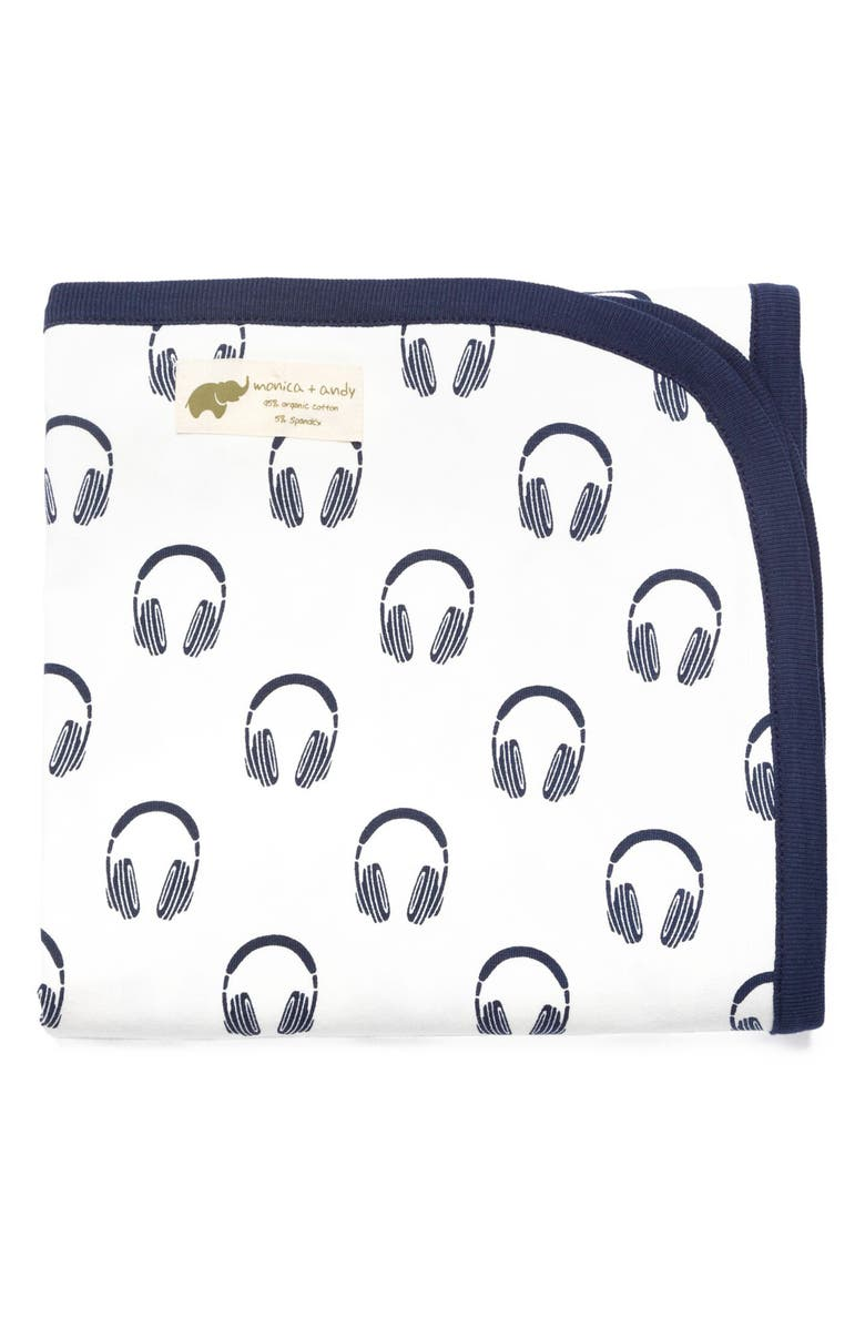 MONICA + ANDY Headphones Print Organic Stretch Cotton Receiving Blanket, Main, color, 004