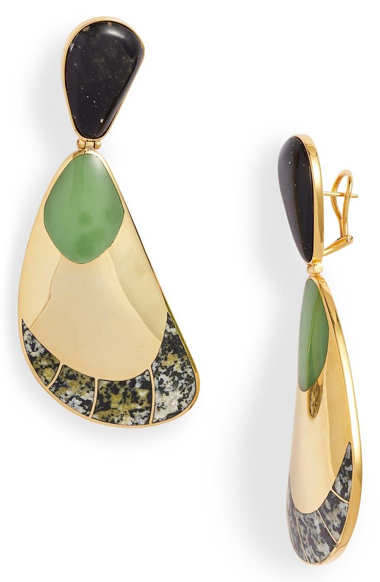 MONICA SORDO Garzon Jasper Drop Earrings, Main, color, DALMATIAN JASPER/ LECHUGUITA