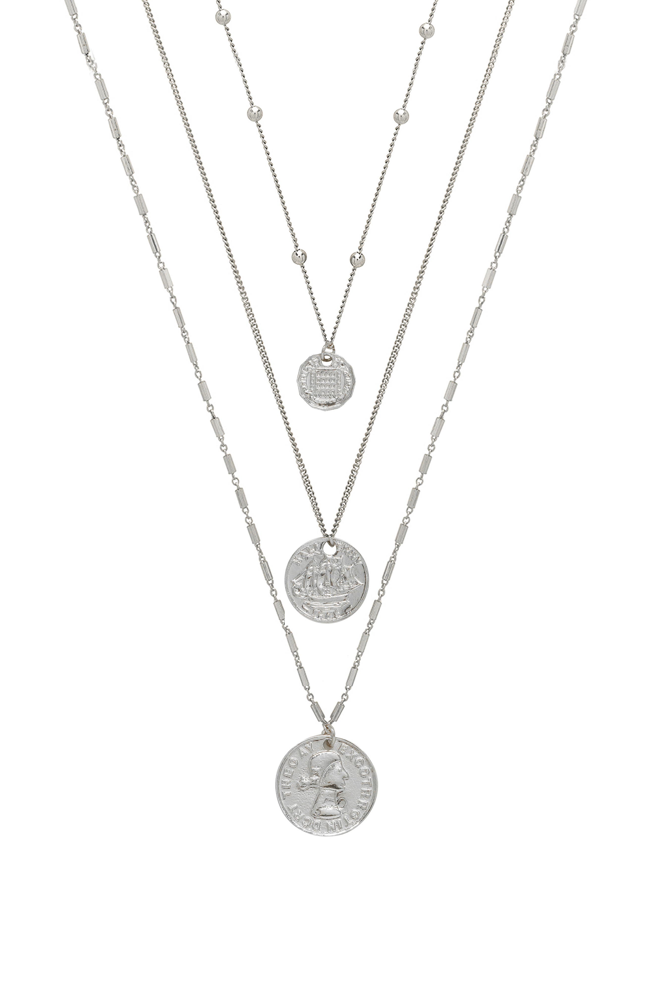 Set Of 3 Coin Pendant Necklaces