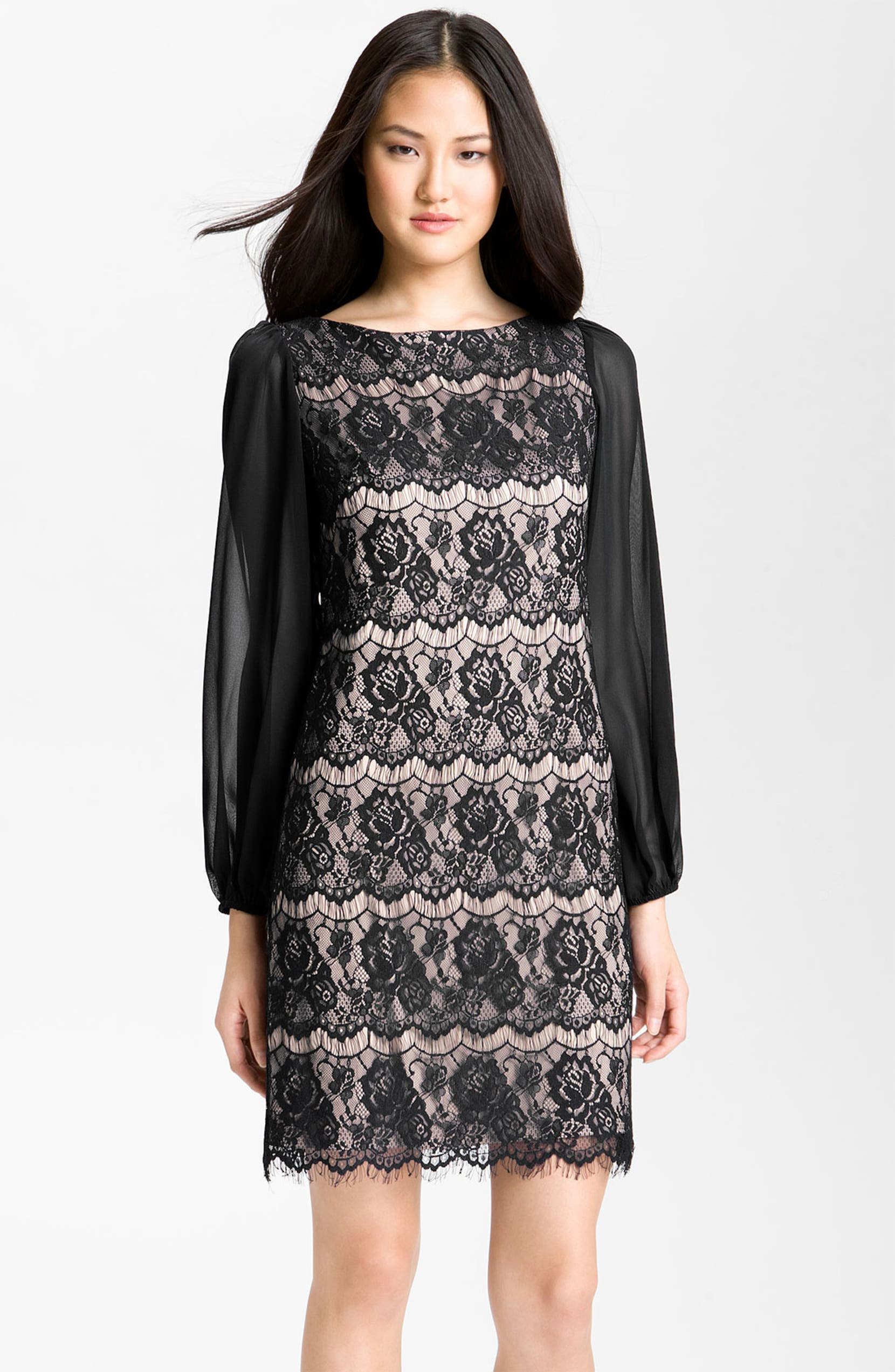 Bell Sleeve Lace Overlay Sheath Dress