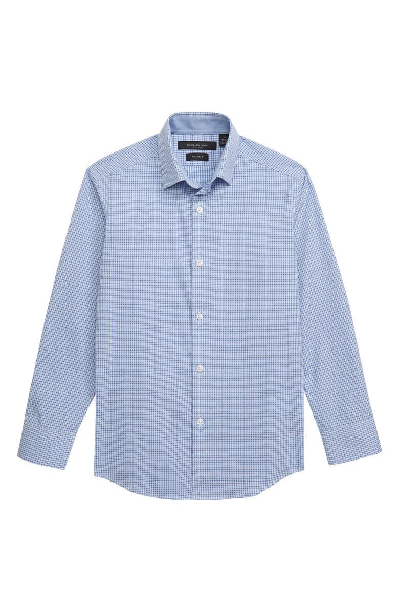 ANDREW MARC Mini Check Dress Shirt, Main, color, BLUE/ WHITE