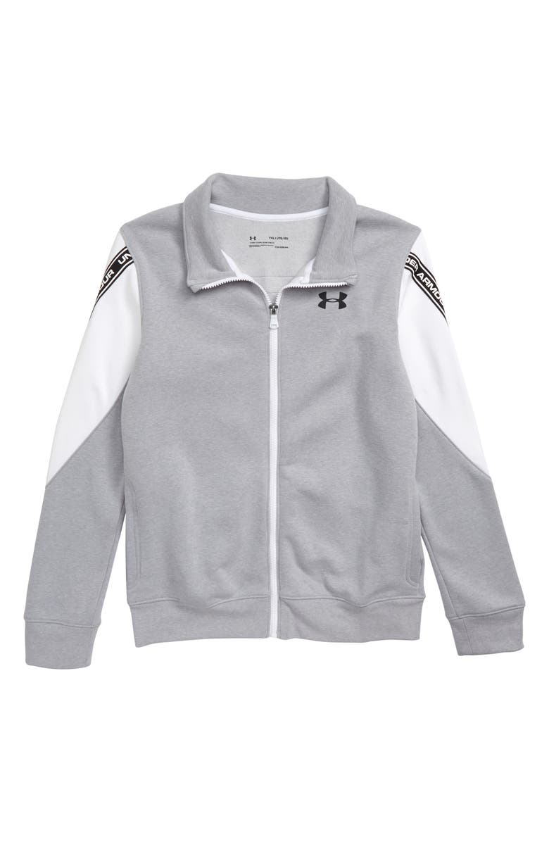 UNDER ARMOUR Sportstyle ColdGear<sup>®</sup> Full Zip Jacket, Main, color, MOD GRAY LIGHT HEATHER/ BLACK