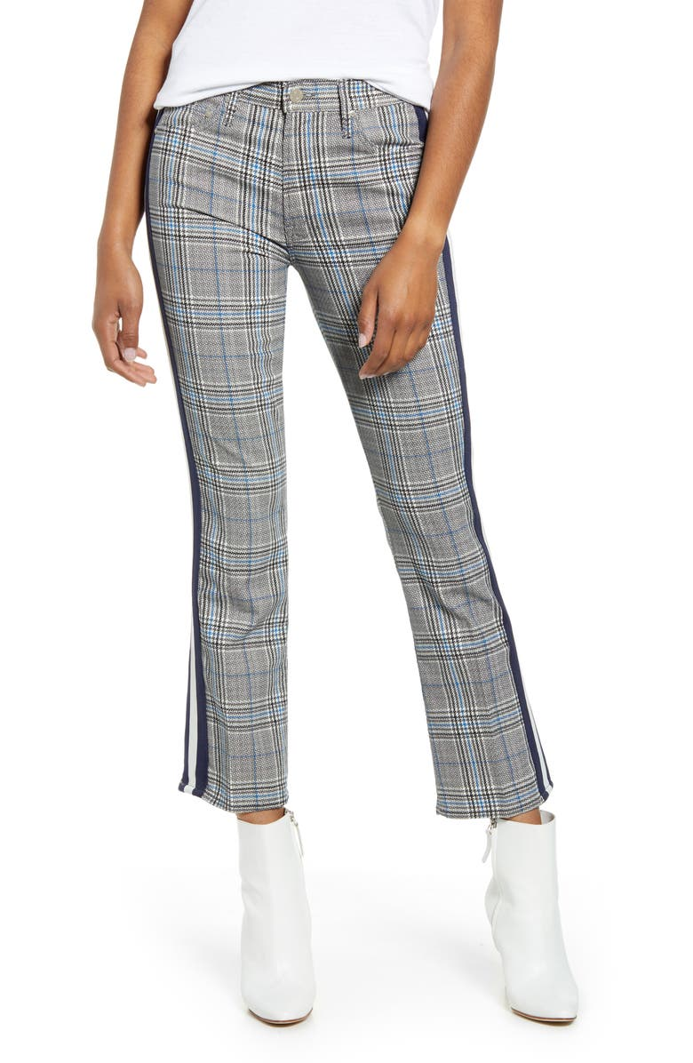 MOTHER The Insider Plaid Crop Pants, Main, color, GREY/ BLUE