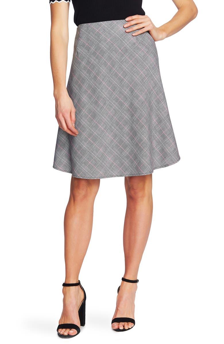 CECE Pop Plaid Flounce Skirt, Main, color, WILD FUCHSIA