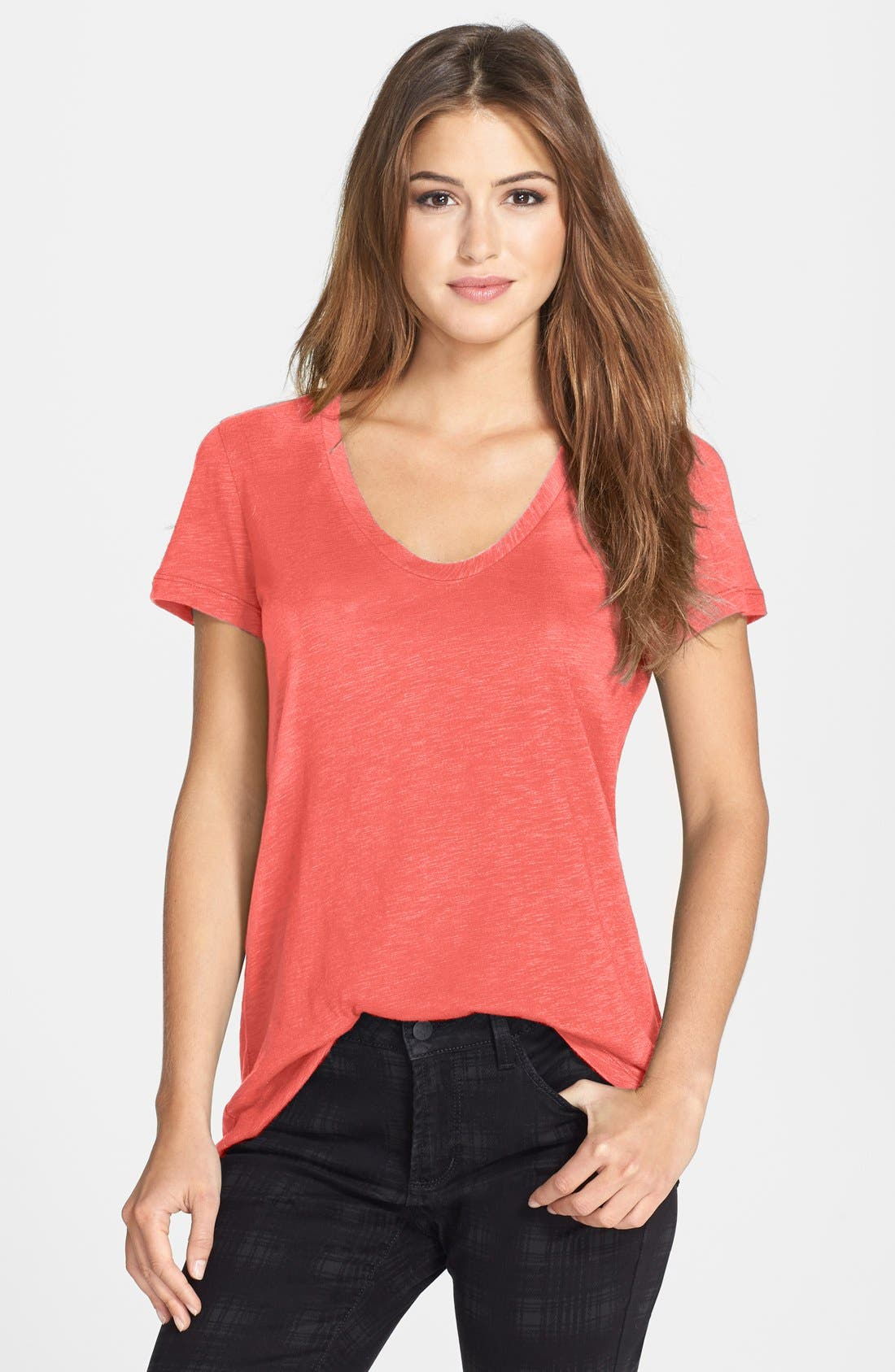 ,                             Relaxed Slub Knit U-Neck Tee,                             Main thumbnail 488, color,                             952