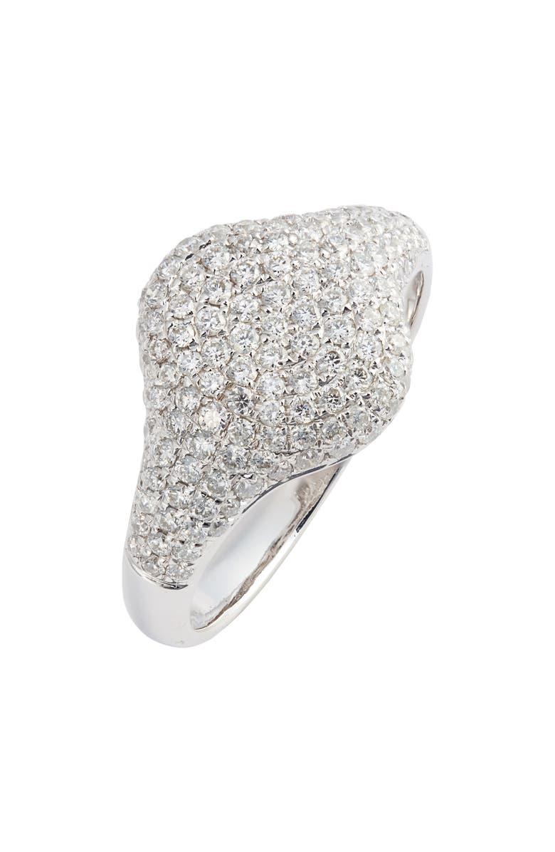 BONY LEVY Pavé Diamond Signet Ring, Main, color, WHITE GOLD/ DIAMOND