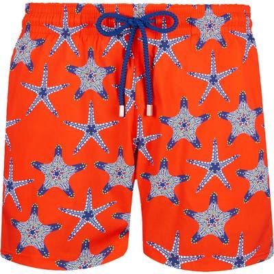 Vilebrequin Starfish Dance Superflex Swim Trunks, Orange