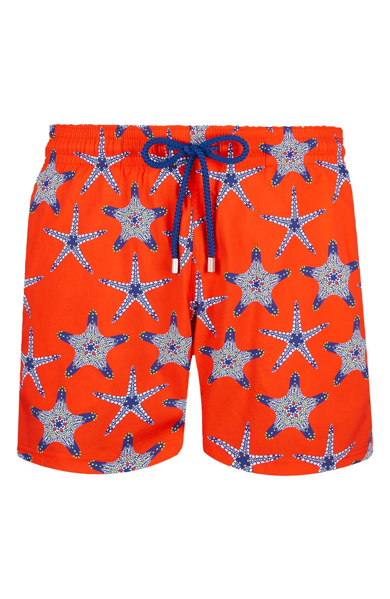 VILEBREQUIN Starfish Dance Superflex Swim Trunks, Main, color, CAUTION ORANGE