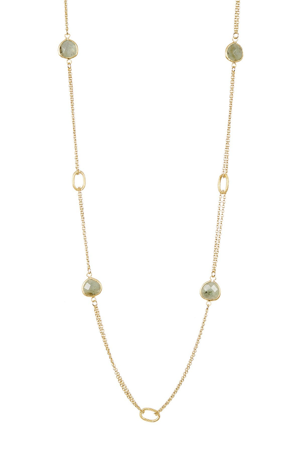 Image of Rivka Friedman 18K Gold Clad Double Row Labradorite Cable Link Necklace