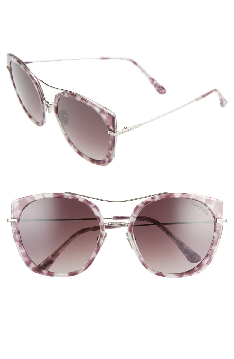 TOM FORD Joey 56mm Cat Eye Sunglasses, Main, color, LILAC HAVANA/ GRAD BURGUNDY