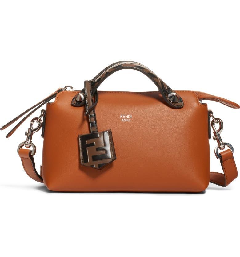 FENDI Mini By the Way Leather Crossbody Bag, Main, color, BRANDY/ MAYA BLACK/ PALLADIUM