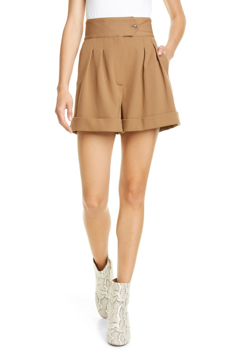 HILFIGER COLLECTION High Waist Chino Shorts, Main, color, CORNSTALK