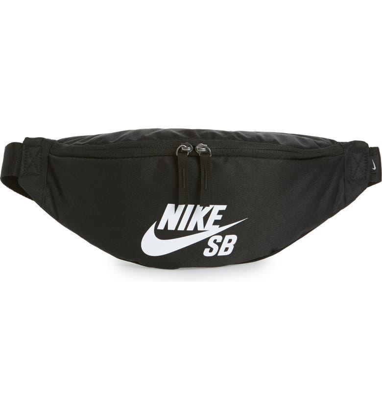 NIKE SB Heritage Belt Bag, Main, color, BLACK/ WHITE