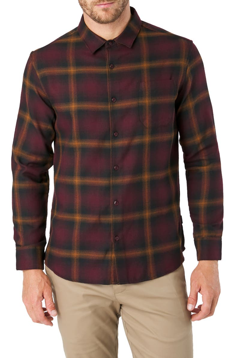 7 DIAMONDS Dakota Slim Fit Check Button-Up Shirt, Main, color, RED