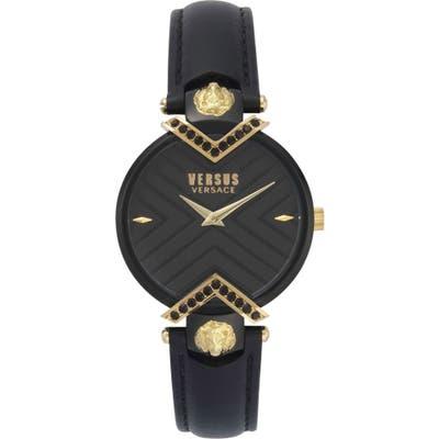 Versus Versace Mabillon Leather Strap Watch,