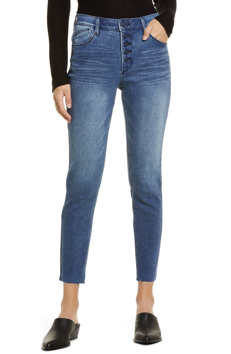 WIT & WISDOM Ab-Solution Exposed Button Raw Hem Slim Jeans, Main, color, BLUE