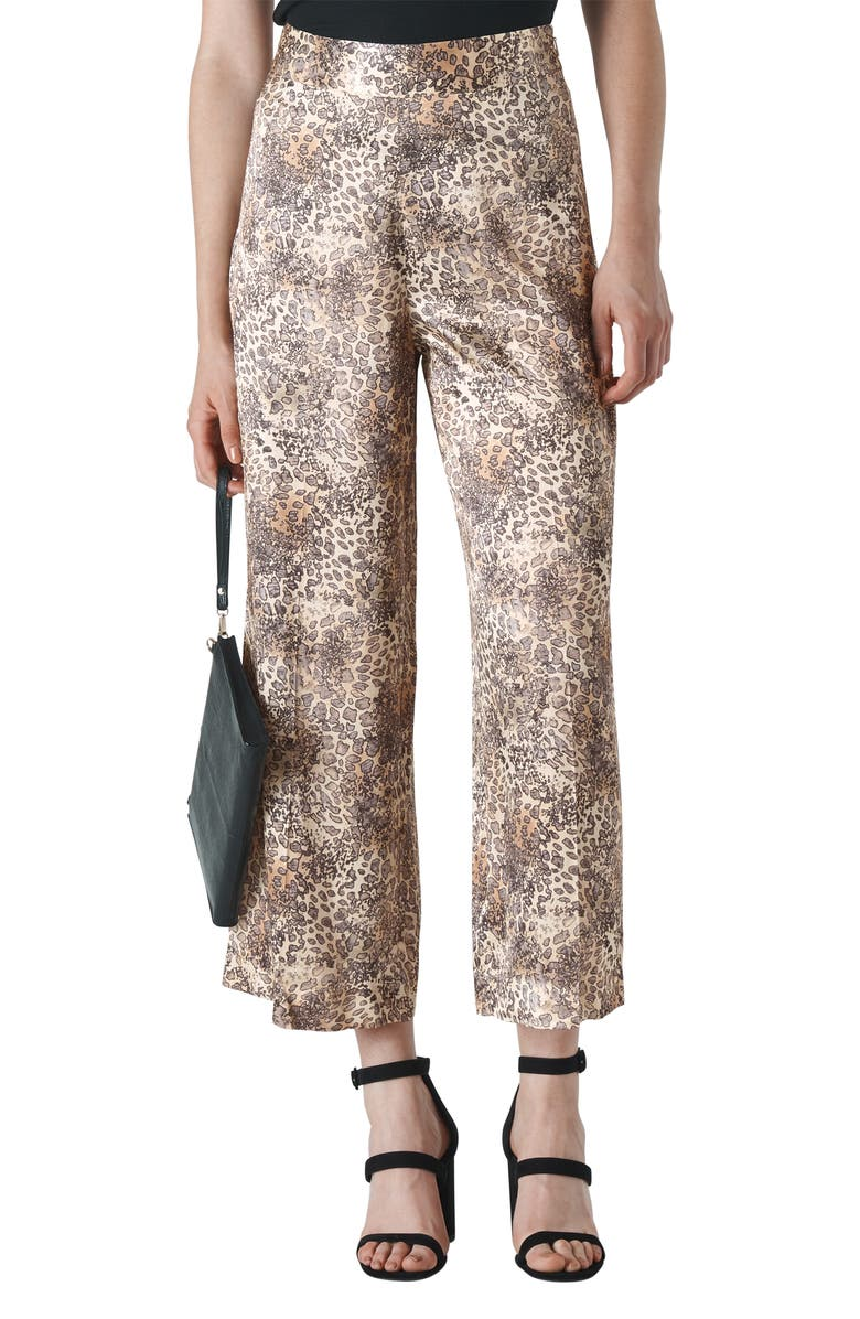 WHISTLES Big Cat Print Satin Crop Trousers, Main, color, MULTI