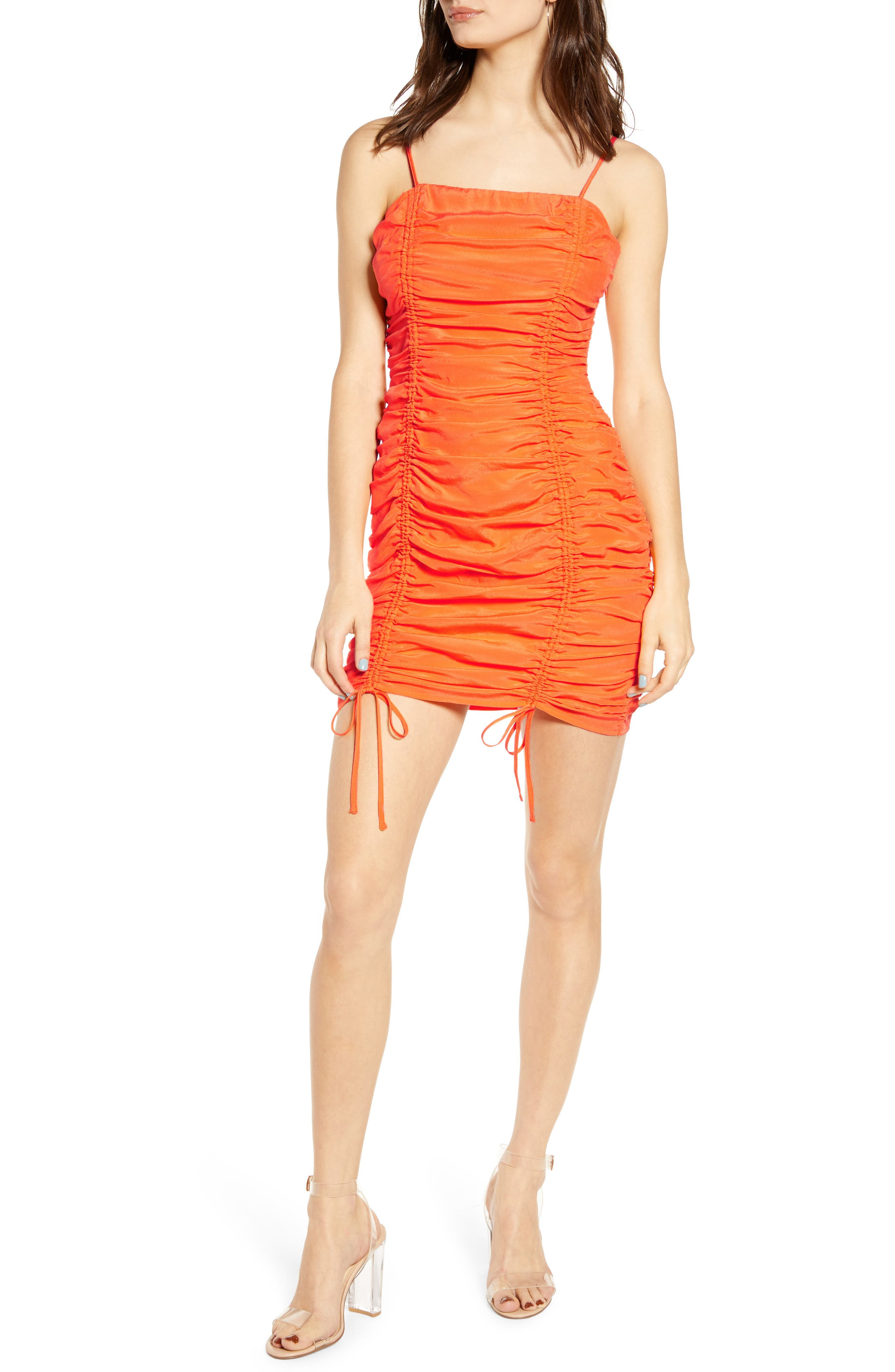 J.o.a. Sleeveless Ruched Minidress, Orange