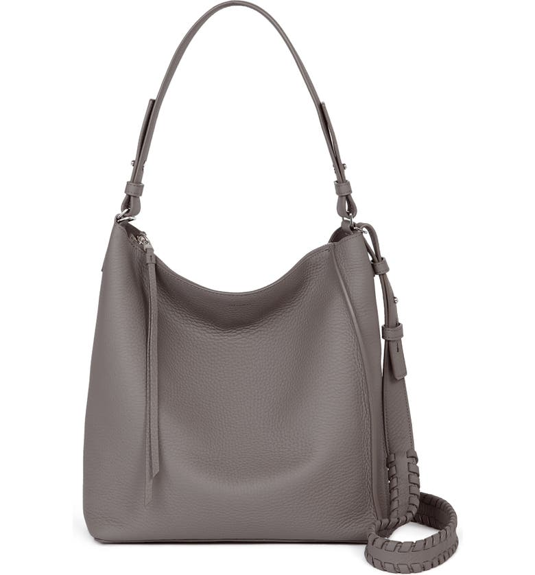 ALLSAINTS Kita Leather Shoulder/Crossbody Bag, Main, color, STORM GREY