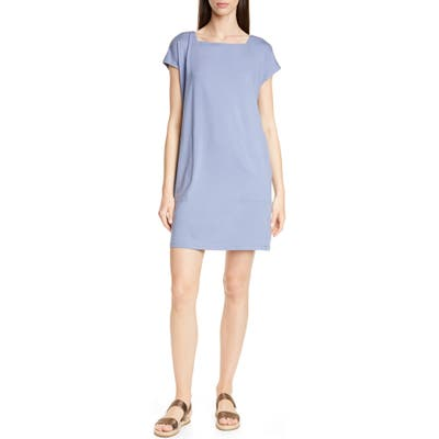 Petite Eileen Fisher Square Neck Tencel Lyocell Blend Dress, Blue