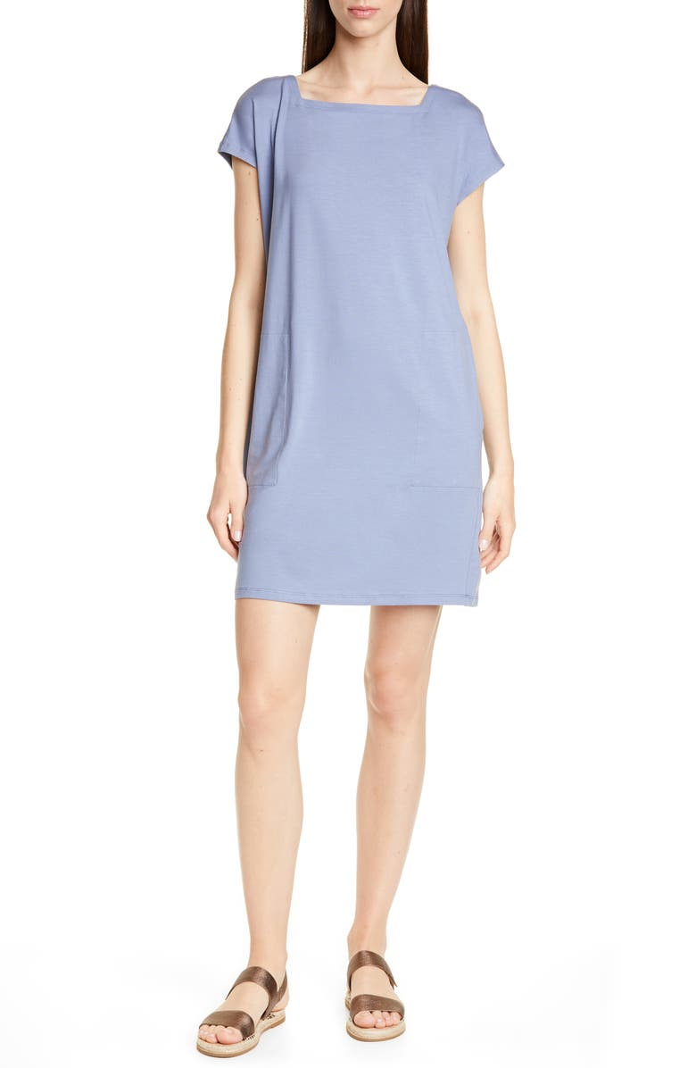 EILEEN FISHER Square Neck Tencel<sup>®</sup> Lyocell Blend Dress, Main, color, 416