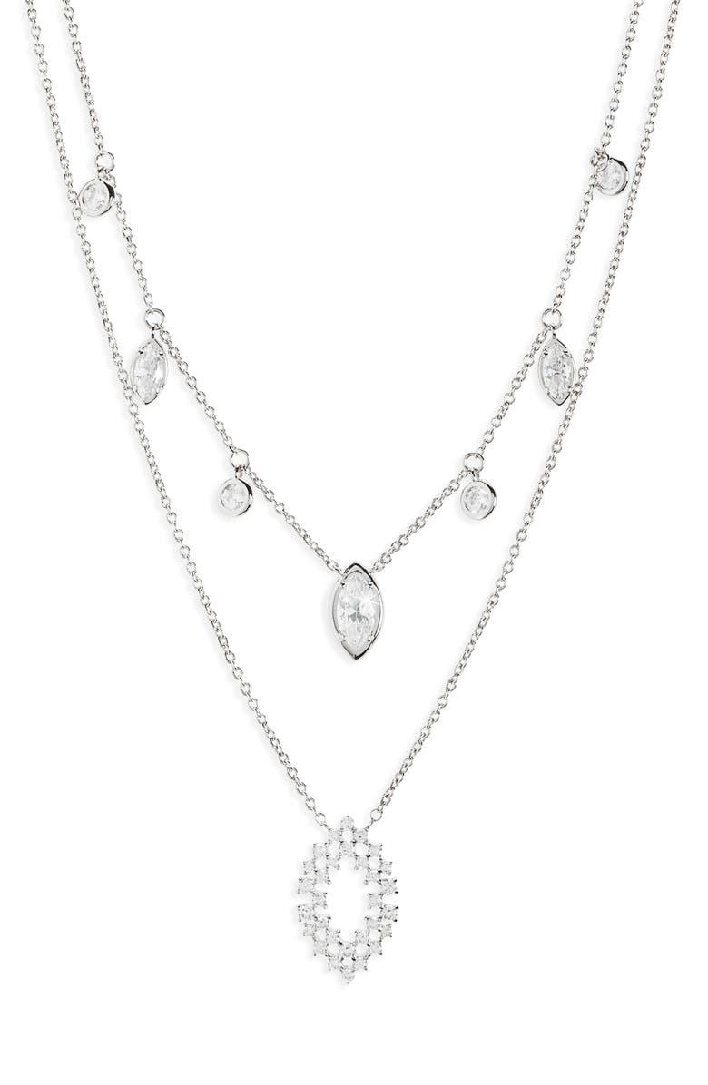 NADRI Mila Layered Necklace, Main, color, RHODIUM