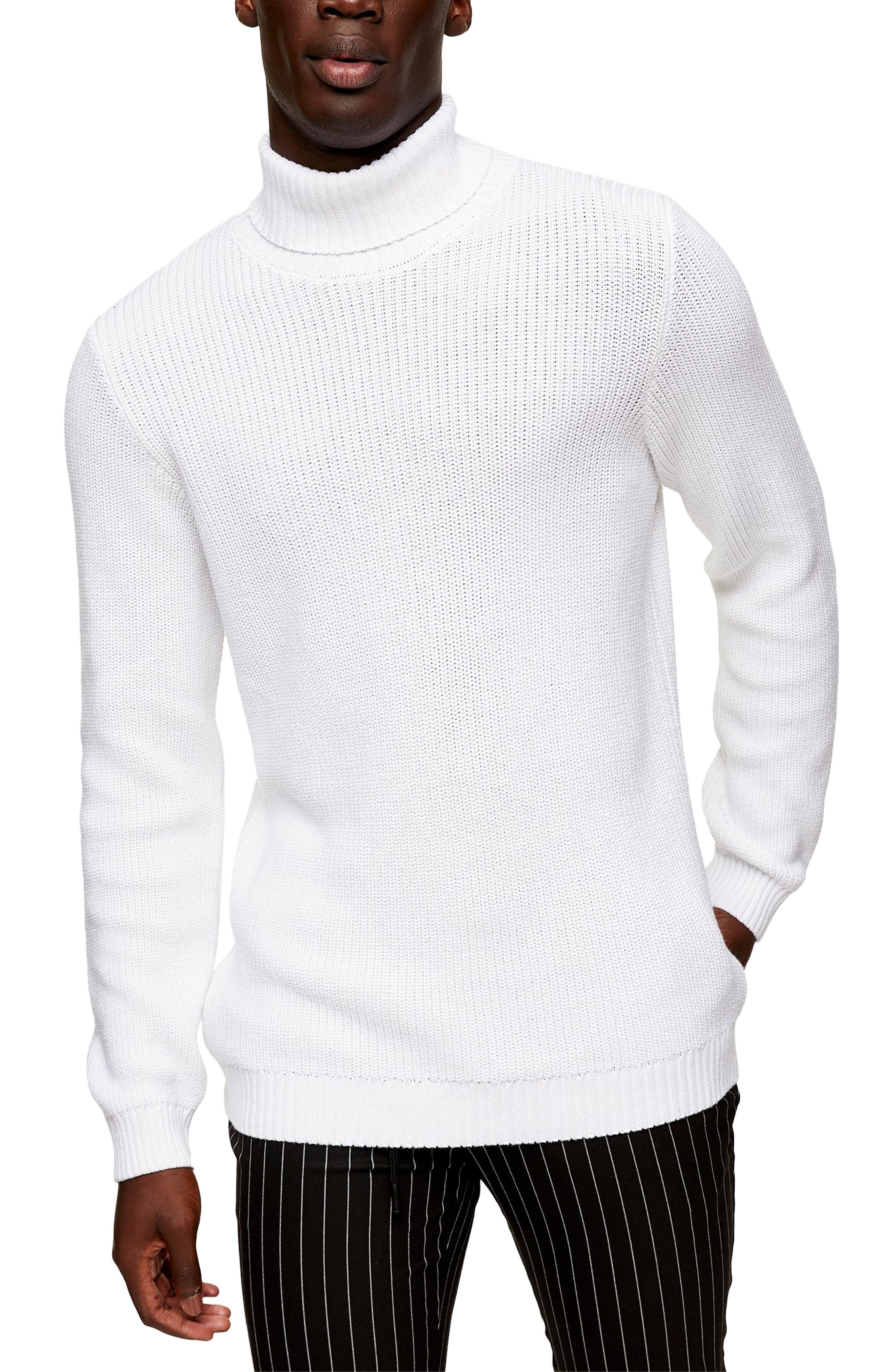 A chunky turtleneck collar tops off a smart sweater knit from a medium-weight bend. Style Name: Topman Turtleneck Sweater. Style Number: 6128681. Available in stores.