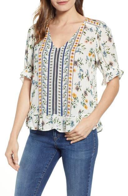 Lucky Brand Tops BORDER PRINT TOP