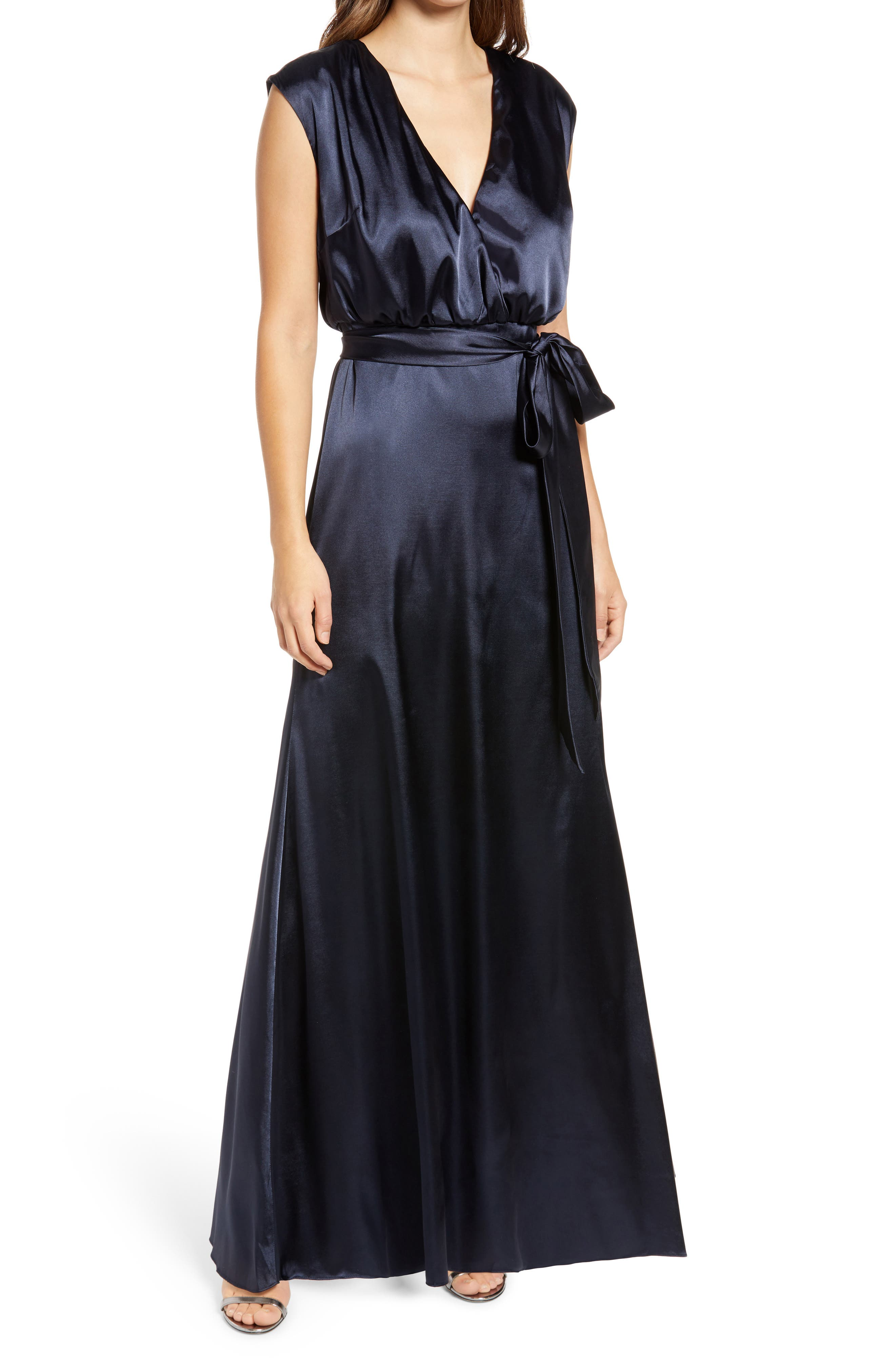 V-Neck Stretch Charmeuse Gown