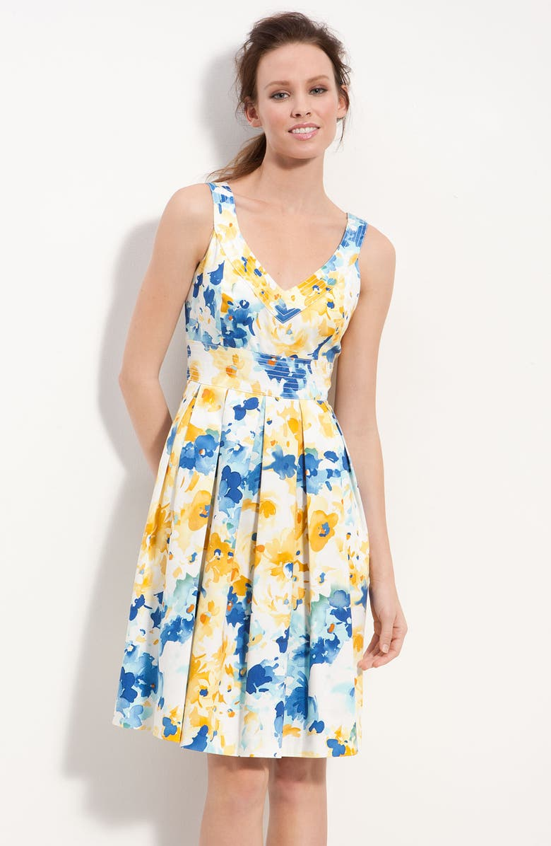 MUSE Floral Print Fit & Flare Dress, Main, color, 400
