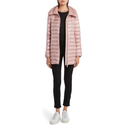 Moncler Soufre Lightweight Down Puffer Coat With Genuine Mink Fur Trim, (fits like 0-2 US) - Pink