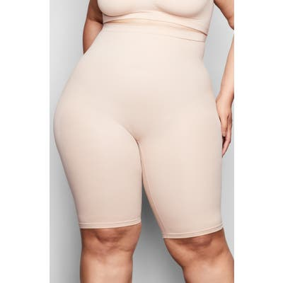 Plus Size Skims Sculpting Seamless Above The Knee Shorts, X/3X - Beige