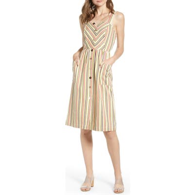 Moon River Stripe Button Front Sundress, Ivory