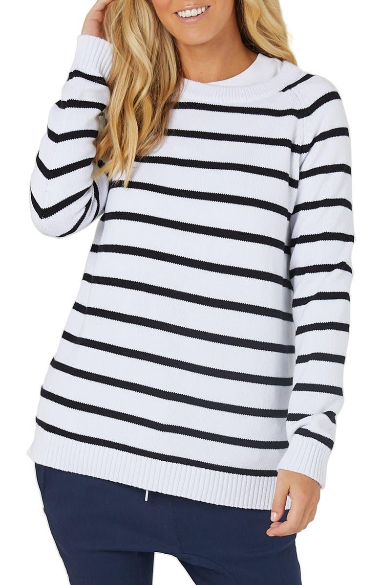 LEGOE. Maternity/Nursing Sweater, Main, color, WHITE/ BLACK