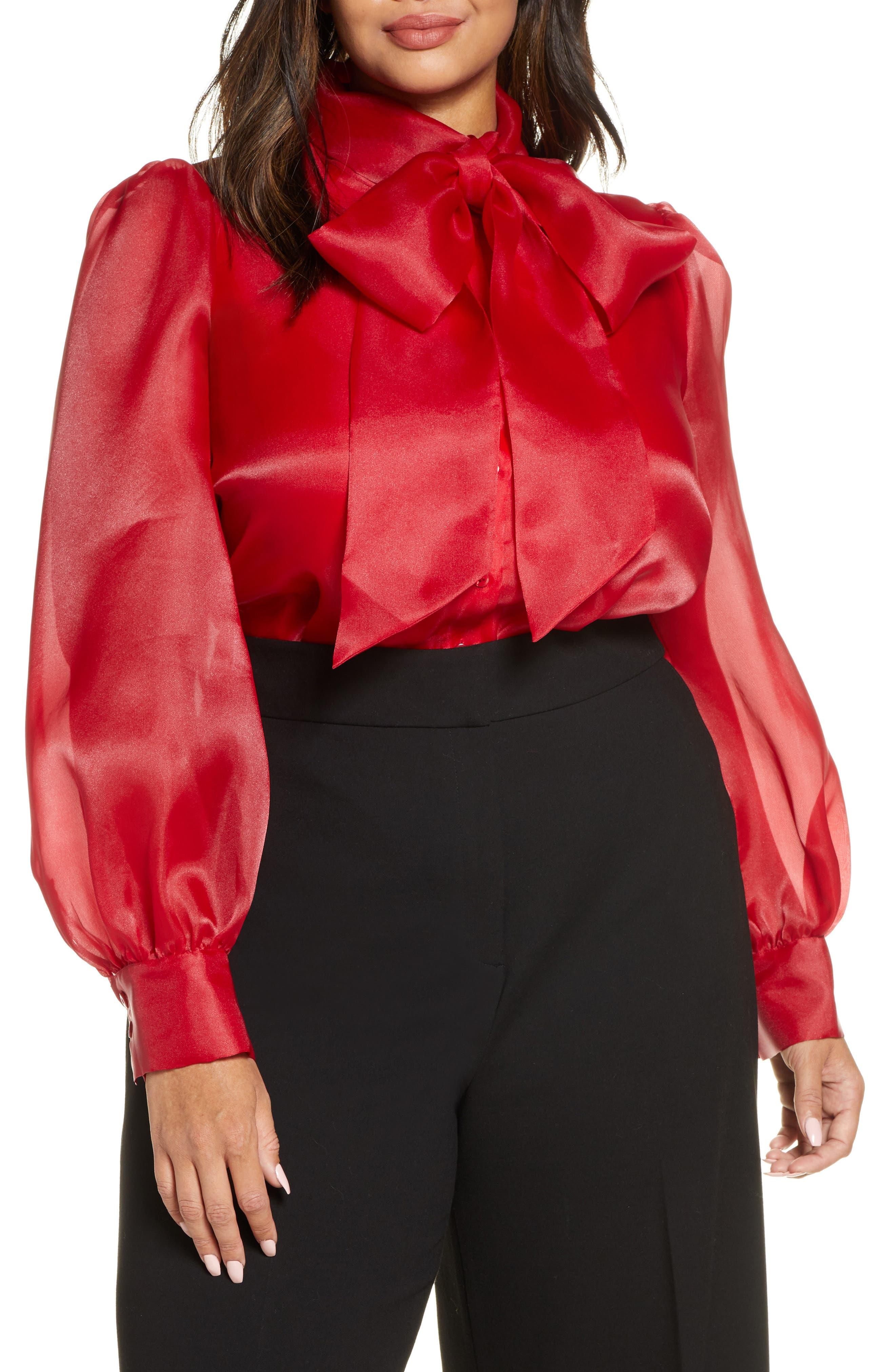 Plus Size Women's Halogen X Atlantic-Pacific Bow Collar Blouse