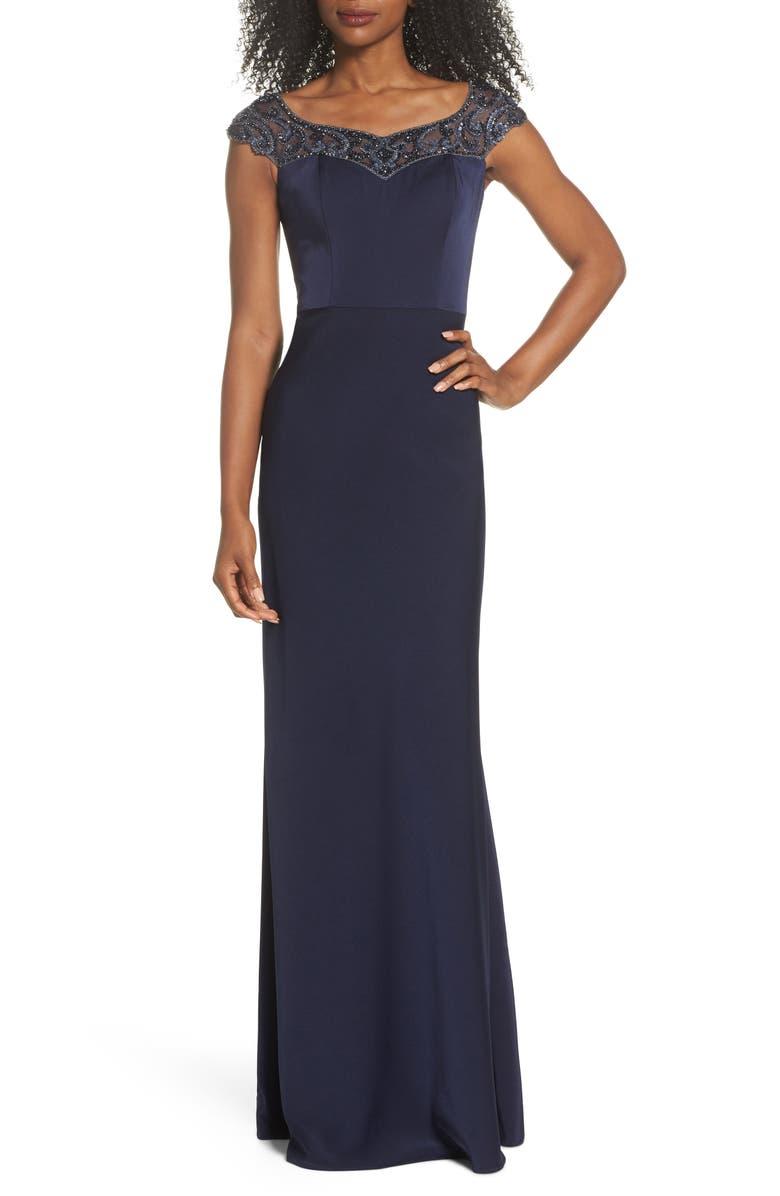 LA FEMME Beaded Bateau Neck Gown, Main, color, NAVY