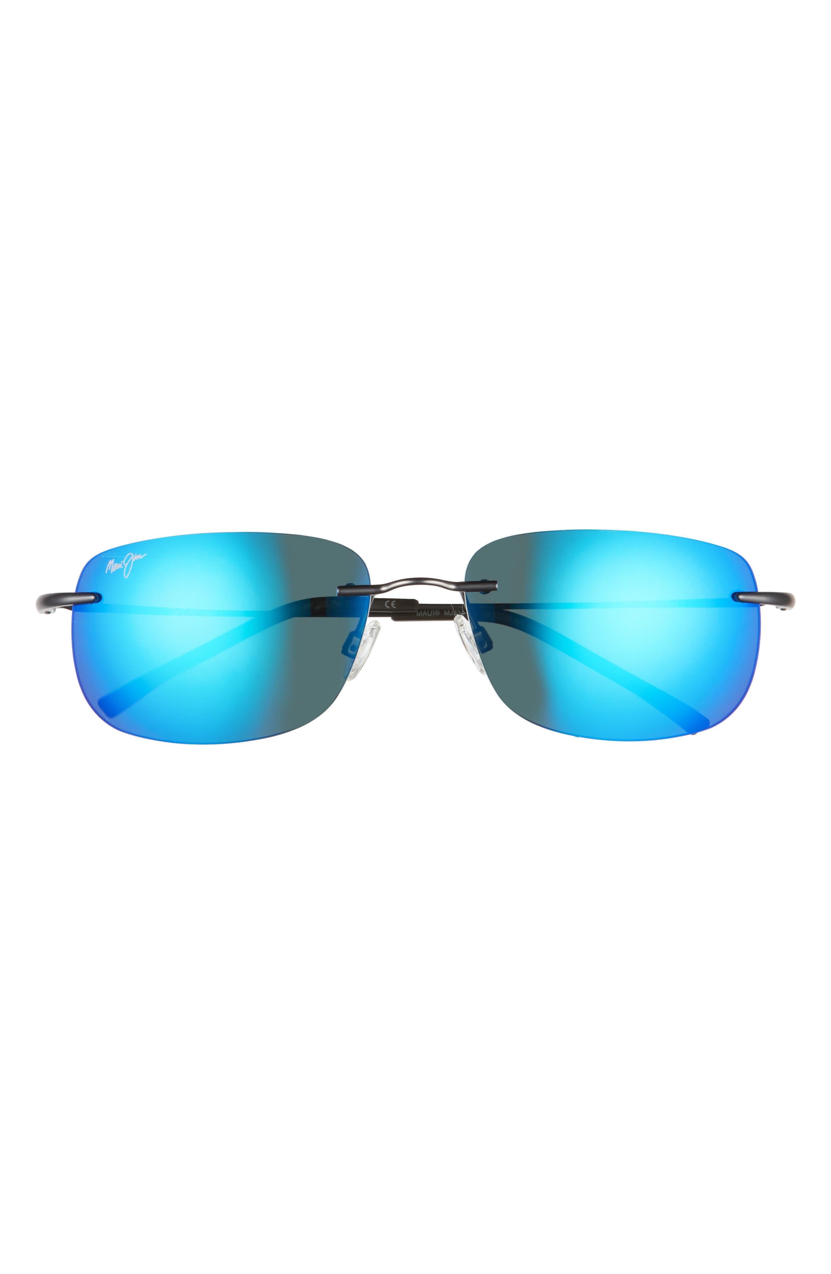 Ohai 59.5mm Polarized Rimless Rectangular Sunglasses