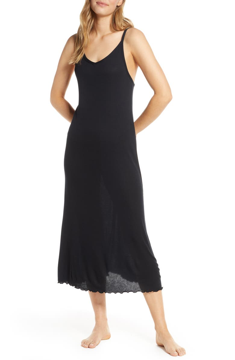 NORDSTROM LINGERIE Moonlight Chemise, Main, color, BLACK