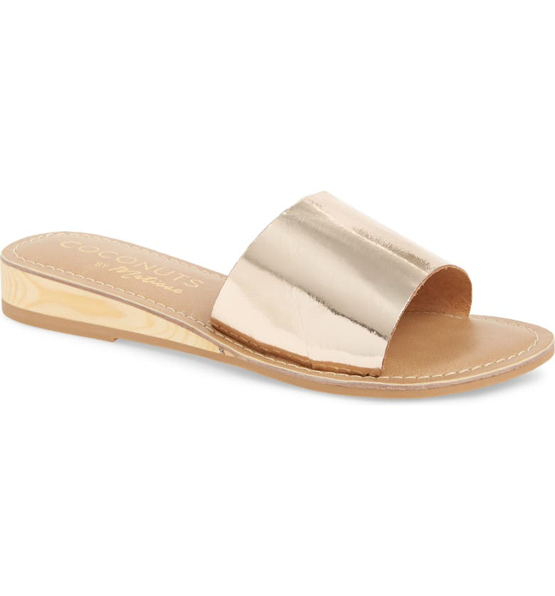 COCONUTS BY MATISSE Tiki Slide Sandal, Main, color, GOLD LEATHER