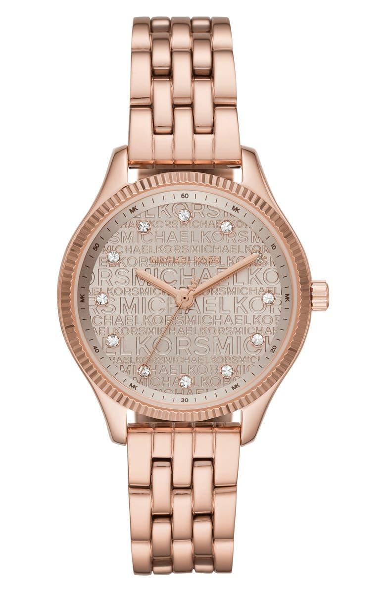 MICHAEL KORS Lexington Logo Bracelet Watch, 36mm, Main, color, ROSE GOLD/ PINK/ ROSE GOLD