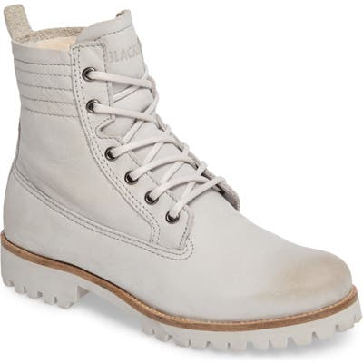 Blackstone Ol22 Lace-Up Boot With Genuine Shearling Lining, Grey
