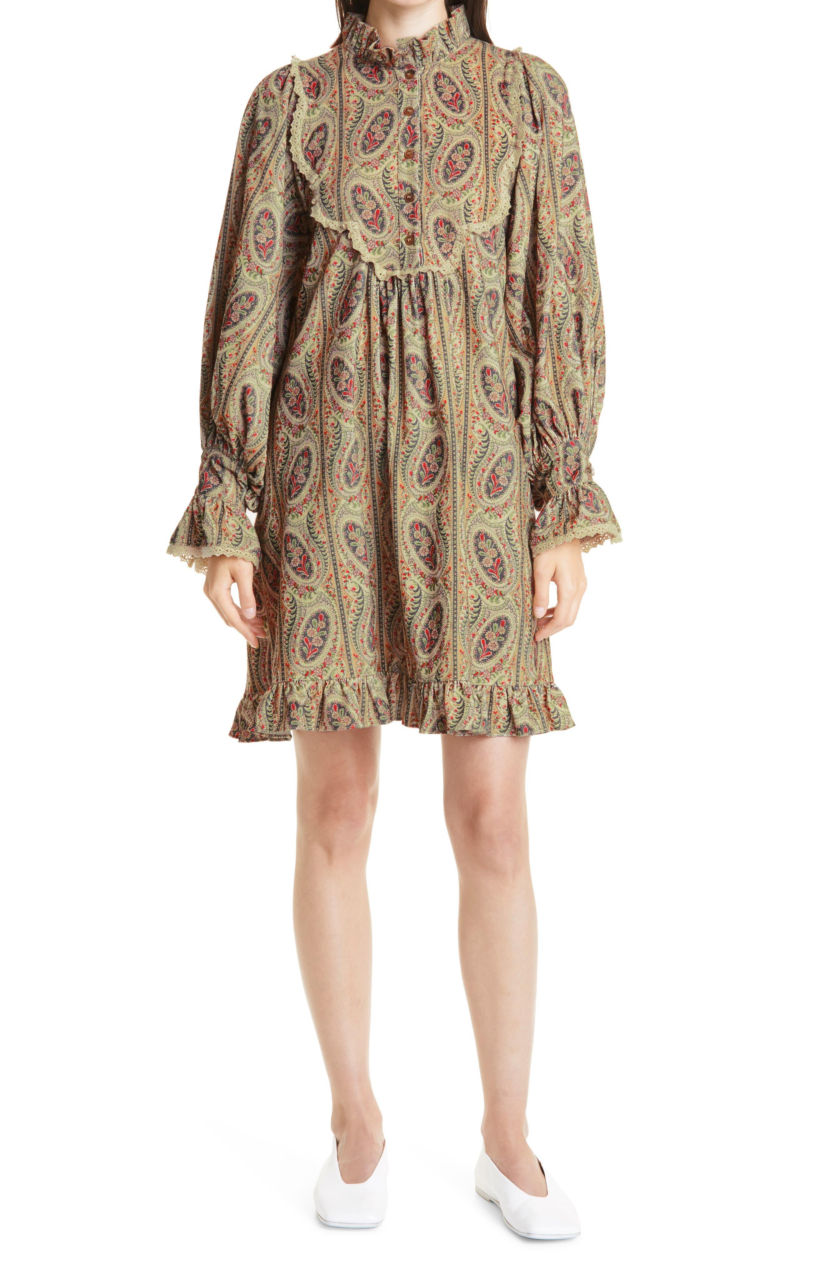 Paisley Print Long Sleeve Corduroy Dress